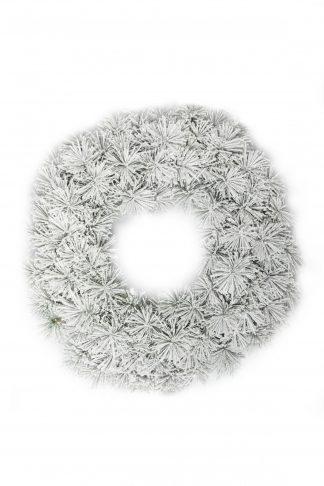 Fehér Hosszútűs fenyő adventi koszorú 60cm